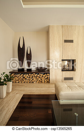 Travertine house: Details in living room - csp13565265