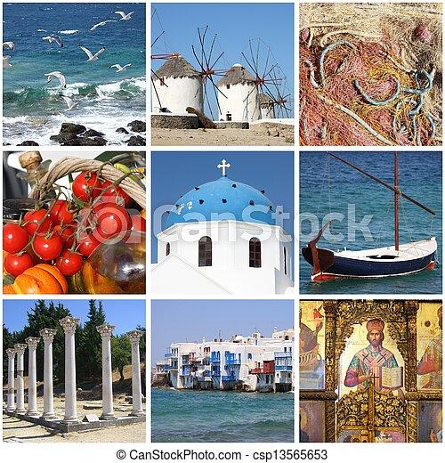 Greece landmarks collage - csp13565653