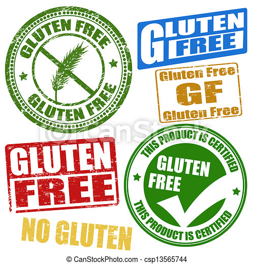 EPS Vector of Gluten free stamps - Set of grunge rubber stamps ...