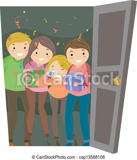 Open Door Surprise Party - csp13568108