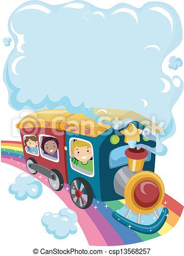 Kids on a Rainbow Train 2 - csp13568257