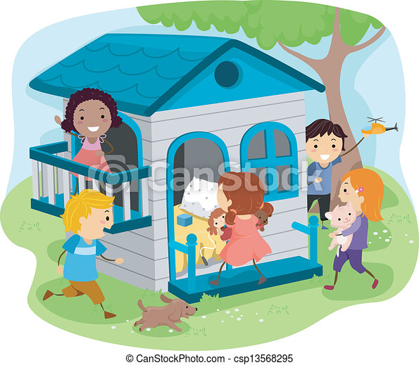 EPS Vectors of Kids on an Outdoor Playhouse - Illustration ...