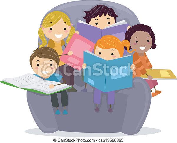 Kids Reading Vector Kids Reading Books Clip Art