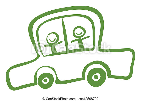 Lines on Car For Kids a Green Car With Two Kids