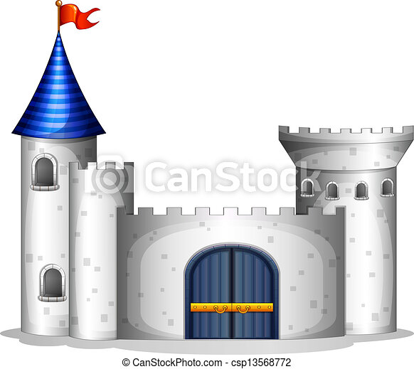 A castle with a red flag - csp13568772