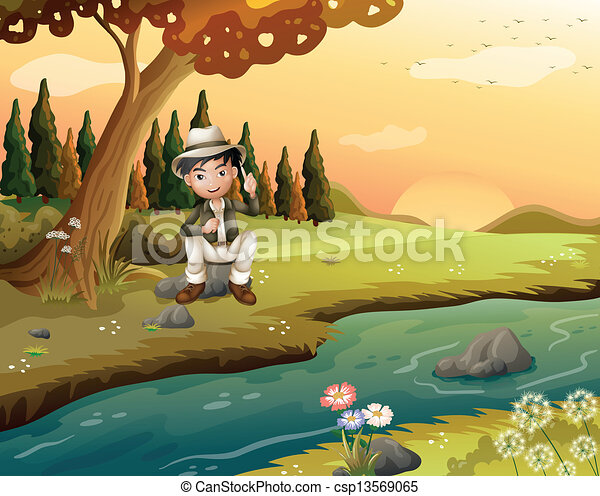 Clip art vector of a boy sitting near the riverbank for Bank fishing near me