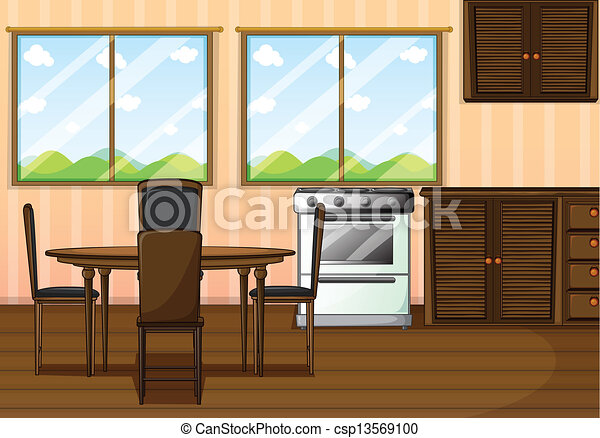 vector clipart of a clean dining room - illustration of a clean