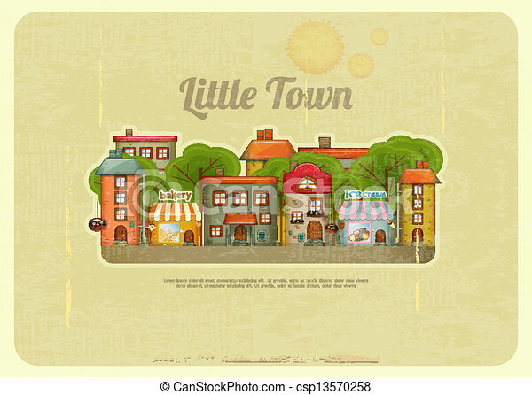 Little Town Retro Background - csp13570258