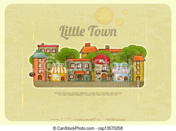Little Town Retro Background - csp13570258