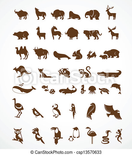 vector collection of animal icons - csp13570633