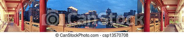 Chengdu, China, covered bridges at night - csp13570708