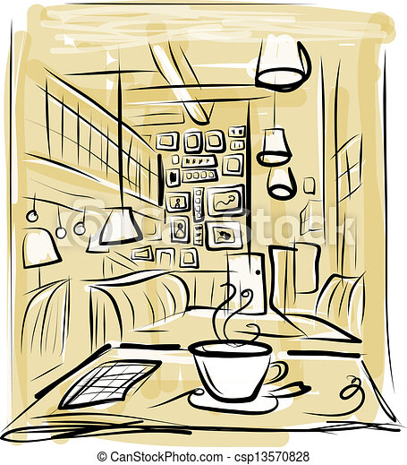Vector Illustration of Morning coffee in cafe, sketch for ...