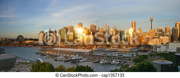Sydney skyline at sunset - csp1357133
