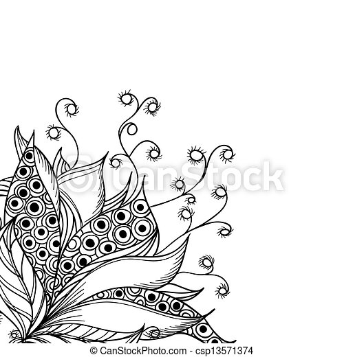 Card template with fantasy black and white flower - csp13571374