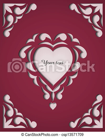 Vector Clipart of Paper cutout card. Template frame design. - Paper ...