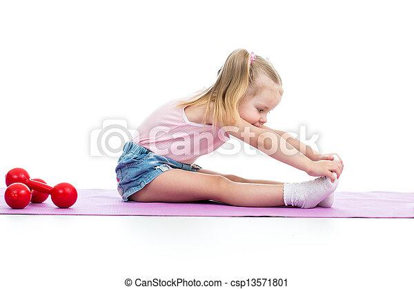 Child girl doing fitness exercises - csp13571801