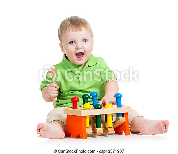 child playing toy isolated on white background - csp13571907