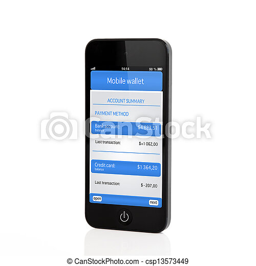 Isolated touch phone with mobile wallet and banking transaction on a screen - csp13573449