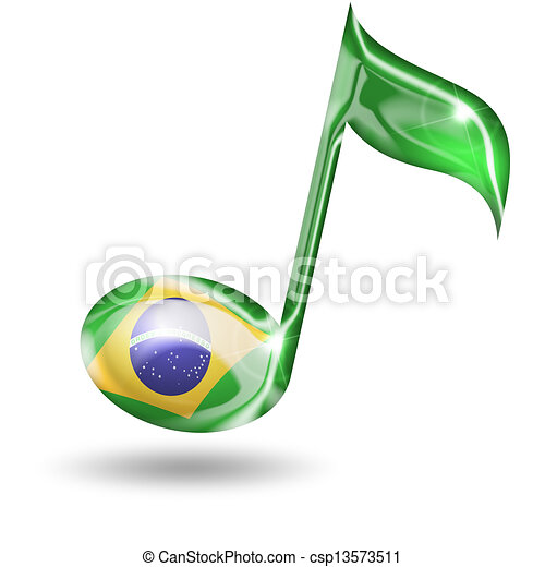 musical note with brazilian flag colors on white background - csp13573511