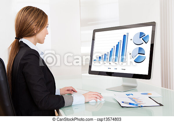 Business Analyst Woman Working On Computer - csp13574803