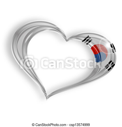 heart with south korean flag colors on white background - csp13574999