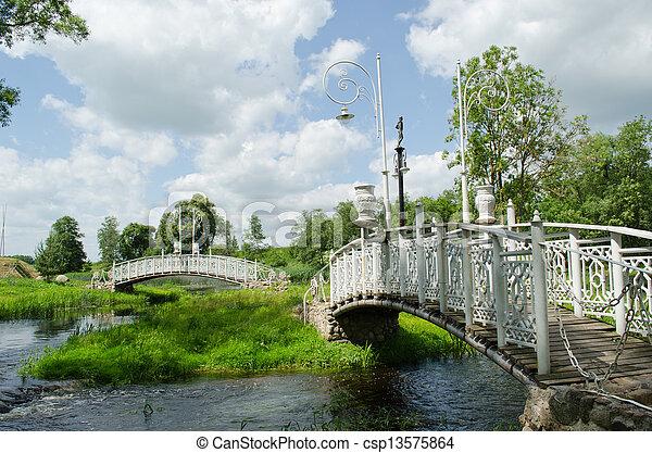 retro white decorative bridges park stream river  - csp13575864