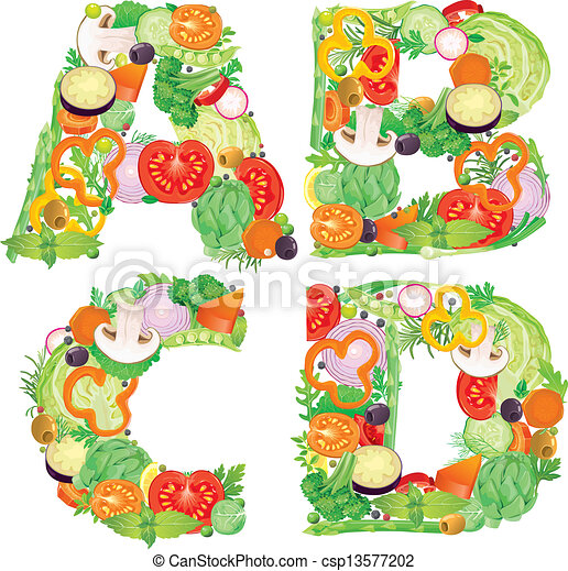 Alphabet of vegetables ABCD - csp13577202