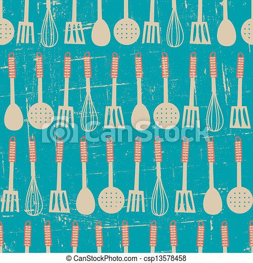 Retro Kitchen Pattern - csp13578458