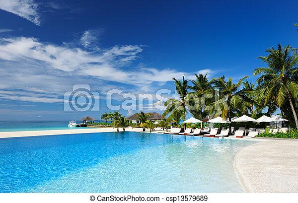 Luxury tropical swimming pool