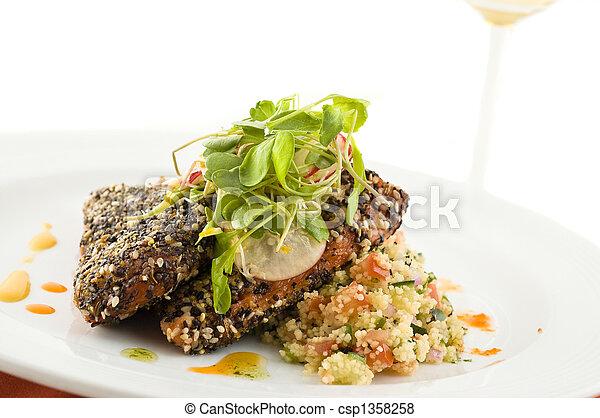 Gourmet salmon dish. - csp1358258