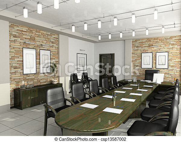 escritório, Gabinete, diretor,  Interior, mobília, negociações,  3D - csp13587002