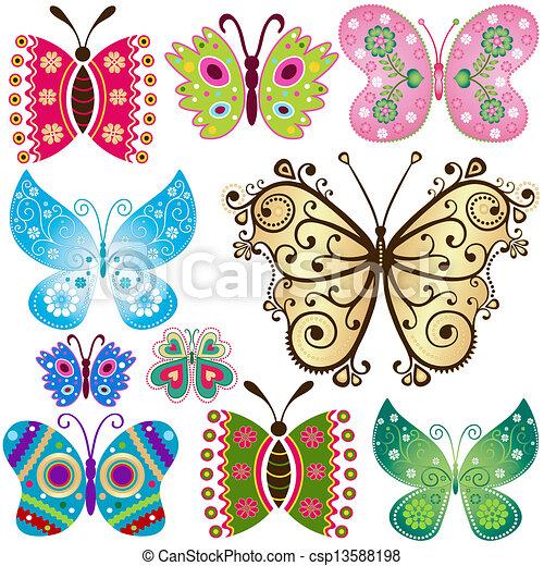 Set fantasy butterflies - csp13588198