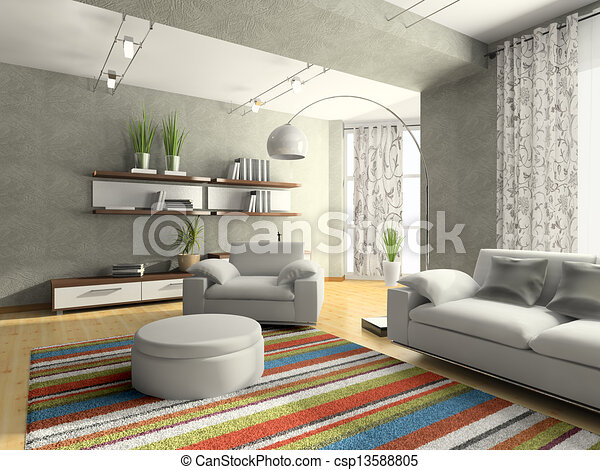 Home interior of drawing-room 3D rendering - csp13588805