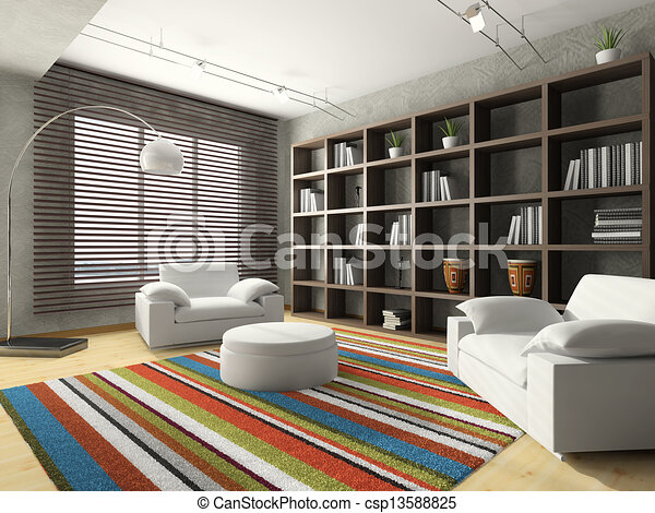 Home interior of drawing-room 3D rendering - csp13588825