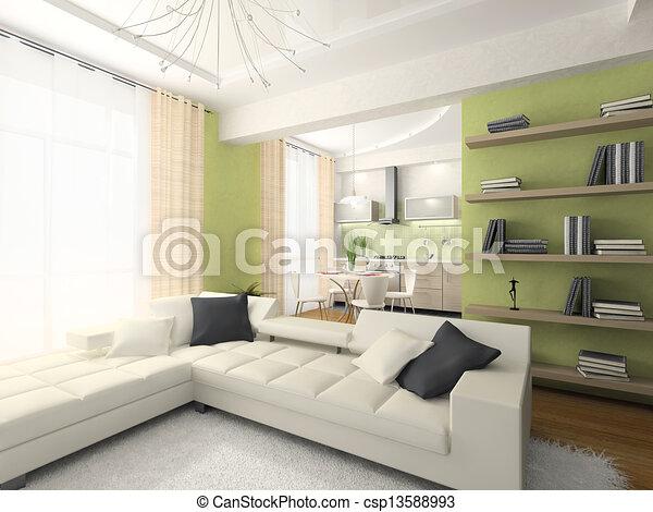 Interior of modern apartment 3D rendering  - csp13588993