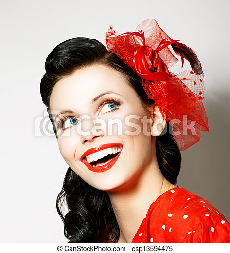 Vitality. Cheerful Young Woman with Red Bow enjoying. Pleasure - csp13594475