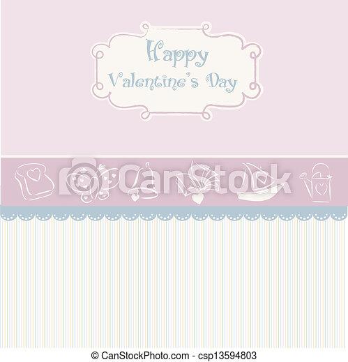 vintage valentine's day card - csp13594803