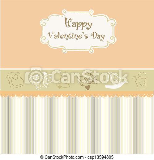 vintage valentine's day card - csp13594805