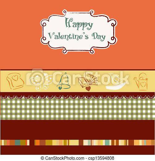 vintage valentine's day card - csp13594808