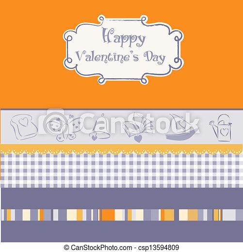 vintage valentine's day card - csp13594809