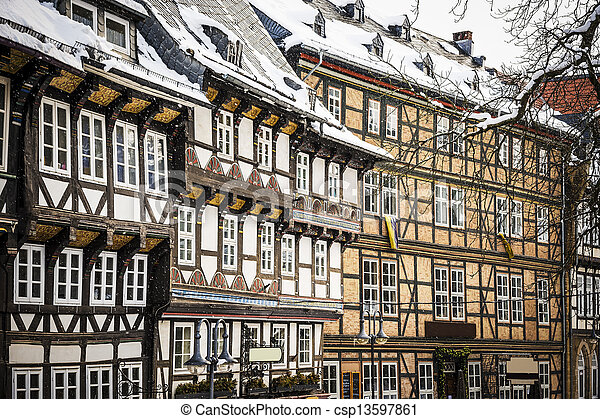 Stock image of closeup half timbered houses in goslar for Half timbered house plans