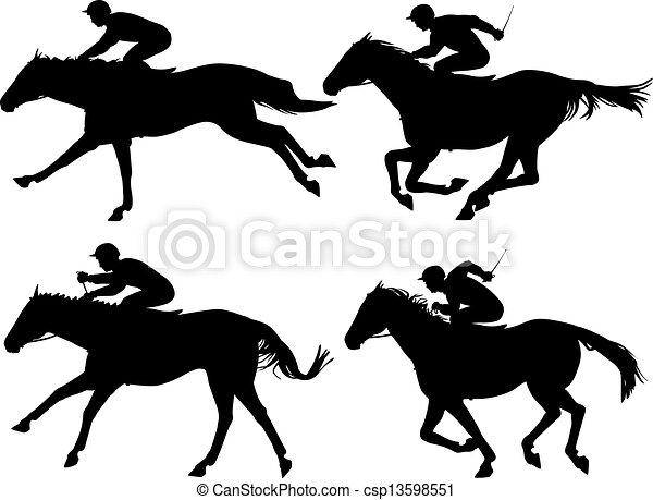 Thoroughbred Race Horses Clip Art