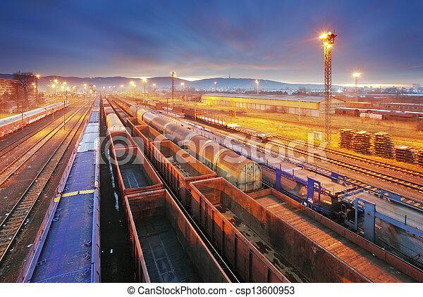 frakt, transport, genomresa,  -, plattform, Tåg, gods - csp13600953