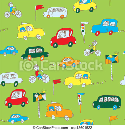 kids in the car seamless pattern funny design csp13601522