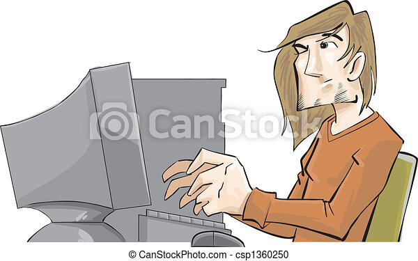 A guy with a computer pro - csp1360250