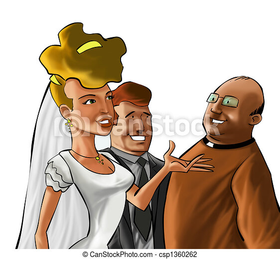The couple and the preacher - csp1360262