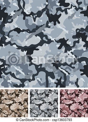 Seamless Complex Military Night Camouflage - csp13603793