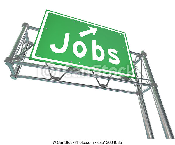 Jobs Word Green Freeway Sign Pointing New Career Employment - csp13604035