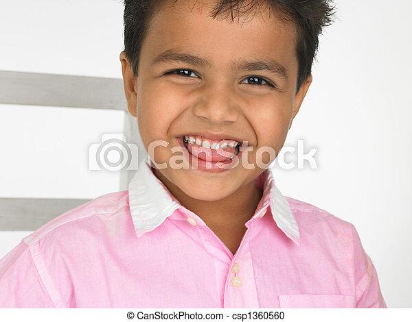 origem, indianas, rir, criança, Asiático - csp1360560