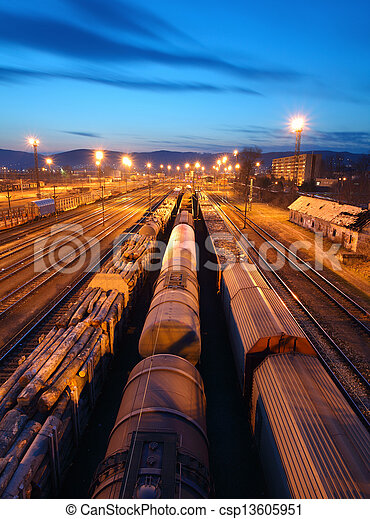Freight Station with trains - Cargo transportation - csp13605951